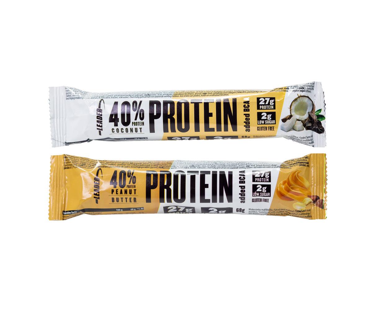 Leader 40 % Protein + BCAA Proteiinipatukka, 68g
